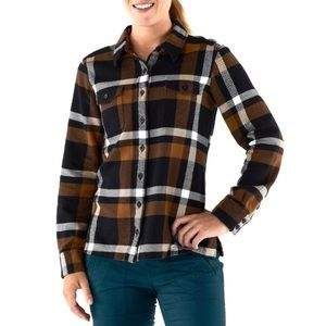 Patagonia Plaid Flannel Button Up Top Brown/Cream
